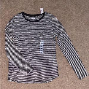 BRAND NEW black and white striped shirt, medium